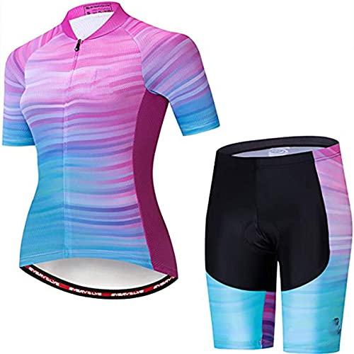 LDX Set di Maglie Abbigliamento da Ciclismo da Donna, Set di Maglie da Ciclismo da Donna + Pantaloncini da Ciclismo con Imbottitura del Sedile 3D Set di Abbigliamento da Ciclismo
