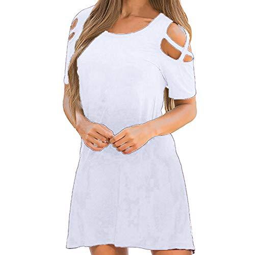 Vestito allentato dell'oscillazione casuale del manicotto corto del O-collo di colore solido delle donne bianco XXL