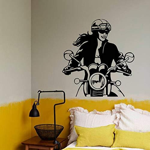 wZUN Motorrad Mädchen Wandtattoo Motorrad Bibliothek Schlafzimmer Wohnzimmer Home Decor Vinyl Aufkleber 68X73cm