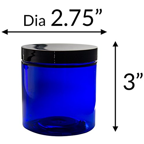 Blue 8 Oz Plastic Cream Jar with Black Lid - Pack of 6
