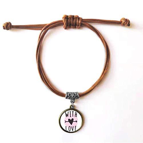 DIYthinker Pulseira de couro com corda de couro com citação rosa com você ama, joia marrom presente