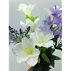 Silk Flower Cemetery Vase Lily with Purple Water Lily Accent
