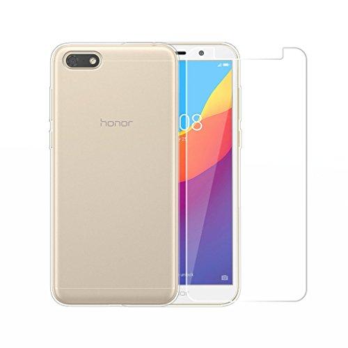 LJSM Huawei Honor 7S Hülle Transparent + Panzerglas Bildschirmschutzfolie Schutzfolie - Weich Silikon Schutzhülle Crystal Flexibel TPU Tasche Hülle für Huawei Honor 7S (5.45