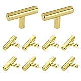 10 unids perillas de cajón, tiradores de un solo orificio y perillas de oro T Bar manijas de puerta de gabinete de cocina de acero inoxidable cepillado