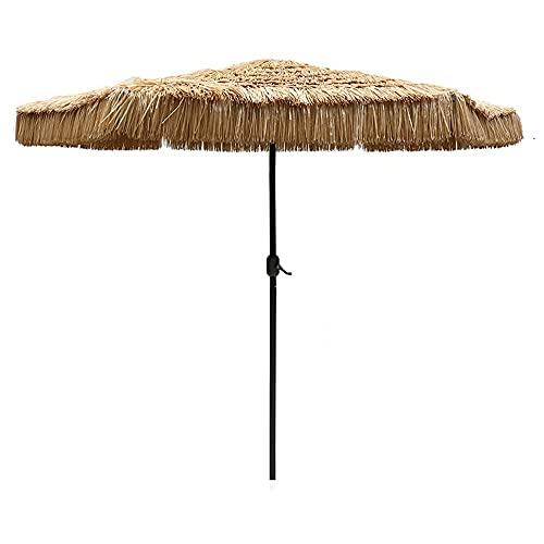 CCLLA Sombrilla de Paja de Playa con Soporte para sombrilla de Ocho Piezas, sombrilla Tropical Hawaiana, sombrilla de jardín Plegable, fácil de Transportar y almacenar, Patio, Playa, Villa.2,7 me