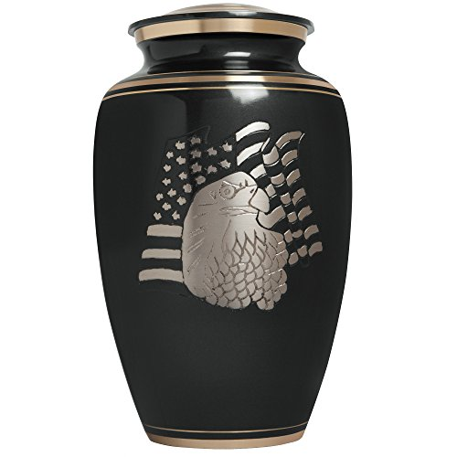Black Funeral Urn by Liliane Memorials- Cremation Urn for Human Ashes - Hand Made in Brass- Suitable for Cemetery Burial or Niche- Large Size fits remains of Adults up to 200 lbs- American Eagle Black