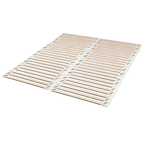 JONA SLEEP - Somier enrollable (140 x 200 cm, madera maciza, madera de haya blanca, sin metal y estable, somier, montaje sin herramientas (140 x 200 cm, 2 unidades de 70 x 200 cm)