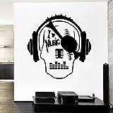 HGFDHG Amo la música calcomanías de Pared Pirata cráneo Cabeza...