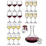 Rocco Bormioli - Servizio Bicchieri 6 Persone, Set 20 Pz Calici Vino Bianco, Rosso E Flute Da...