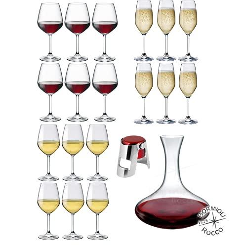 Rocco Bormioli – Juego de vasos para 6 personas, juego de 20 copas de vino blanco, rojo y copas de champán y Prosecco Mod Divino + Decantador ELECTRA de cristal transparente + tapón espumoso.