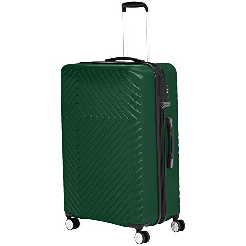 Amazon Basics Geometric Travel Luggage Expandable Suitcase Spinner with Wheels and Built-In TSA Lock, 31.3-Inch - Green