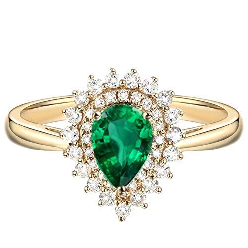 Beydodo Anillo Oro Amarillo 18 Kilates(750) Mujer Halo Gota de Agua Esmeralda Verde Blanca 0.75ct Anillo Talla 20