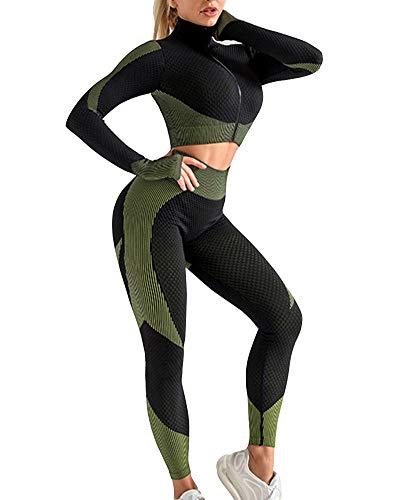 Mujer Conjunto Gym Running de punto sin costuras Gradient Sportswear establece 2 piezas Top con Cremallera Frontal y legging Traje de Yoga Secado rápido chándal de Deporte de la Ropa ejercito verde M