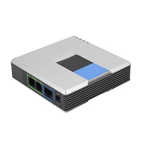 Internettelefoonadapter, VoIP-gateway Internettelefoon 2-poorts Adapter SIP RJ45-kabel voor PAP2T, Telefoonadapter met Breedbandnetwerk, Router, Gewone Telefoon(EU)