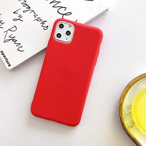 HUAI Funda protectora suave para iPhone 7plus, funda para teléfono móvil para X 8 8plus i6/6s Plus XR XSMAX 11 Pro Max SE 2020 (color: rojo, material: para iPhone 11)