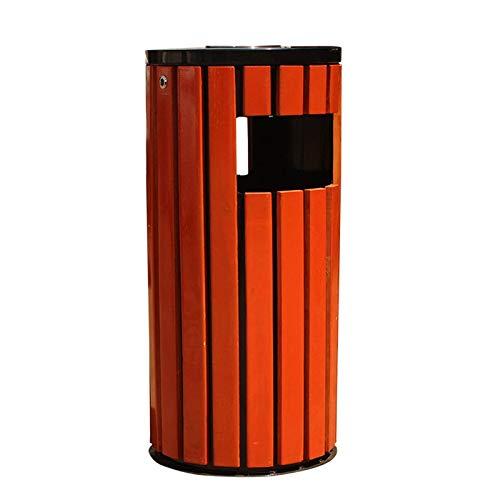 Bdeng Papelera de Reciclaje de Residuos Al Aire Libre Basura Al Aire Libre con Forma de Barril Ronda de Acero Panel de Acero Empotrado de la Basura 32.6 Pulgadas Altas de Basura de 32.6 Pulgadas para