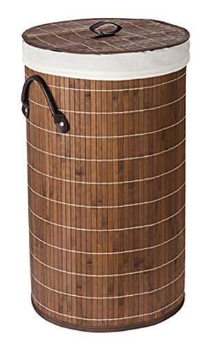 PEGANE Coffre à Linge Rond Bambou Marron foncé - Dim : Ø 35 x 60 cm