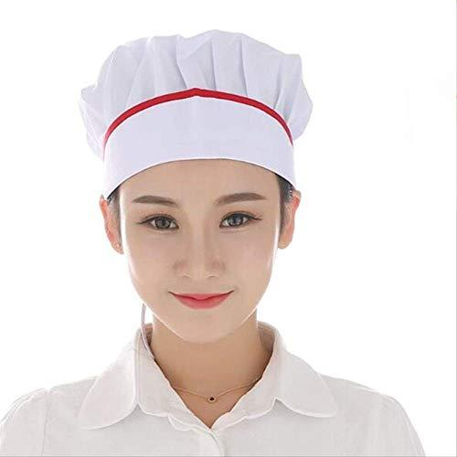 FHFF Koksmuts Solid Blauw Wit Zwart Roze Top Cap Catering Chefs keuken brood dames heren mand verstelbaar rood gestreept