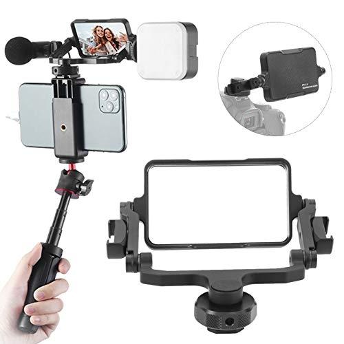 Vbestlife Selfie Vlog Soporte de Espejo con Pantalla abatible para teléfono Inteligente/Action CAM/Cámara, Soporte de extensión de Zapata fría Ajustable de 360 ° para Sony A6400 A7III, para GoPro