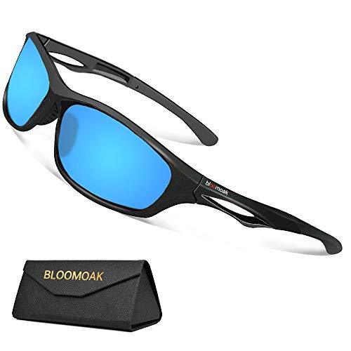 Bloomoak Beste gepolariseerde zonnebrillen fietsbril heren & dames/cool zwart, UV-bescherming/onbreekbaar TR90-montuur - geschikt voor fietsen/hardlopen/fietsen/vissen/go