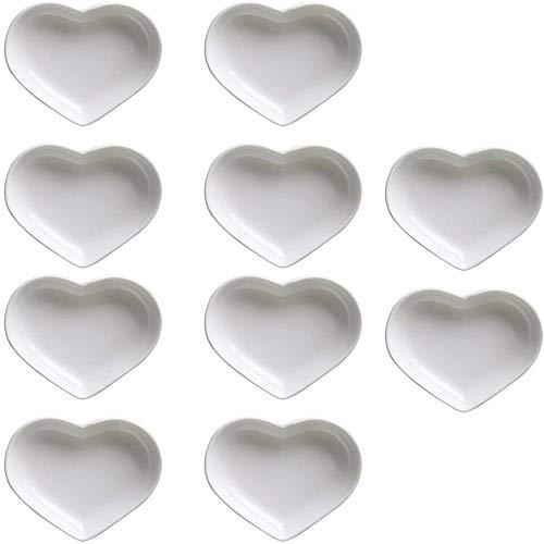 Heart-Shaped Multifunctionele Keramische Saus Schotel Kruiden Gerechten Sushi Dipping Bowl Voorgerecht Borden Serveerschotels Bowl(Set van 10)