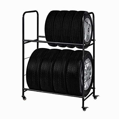 Garage Shelving Tire Storage Rack – Heavy-Duty Metal, Adjustable, 44'' Rolling Tire Stand with Caster Wheels & Protective Cover