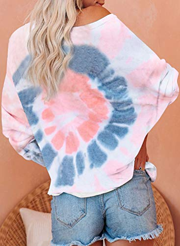 GOSOPIN Tie Dye Tops fow Women Casual Long Sleeve Ombre Printed Loose Shirts Color Block Pullover Sweatshirts Plus Size White XX-Large