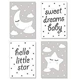 PREMYO Quadri per Camera Bambini - Set di Poster Luna Stella Grigio - Stampe da Parete Decorazione Cameretta Neonato A4
