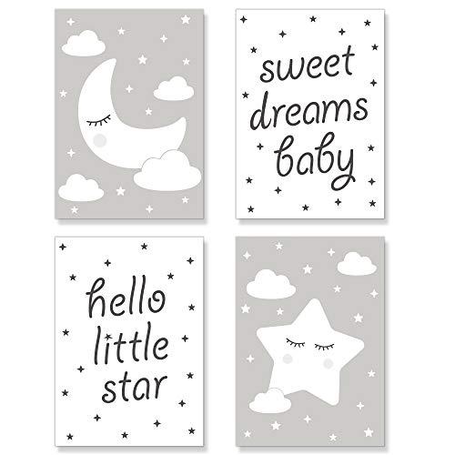 PREMYO Cuadros Infantiles para Habitación Niña Niños - Láminas Decorativas para Enmarcar 4 Póster Luna Estrella Gris A4