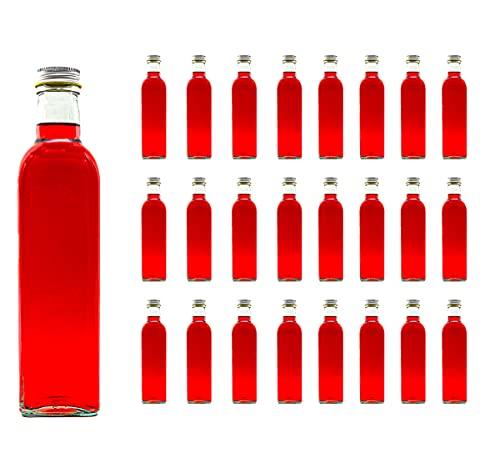 casavetro 24 Leere Glas-Flaschen 250ml MAR Saftflasche Likör Schnaps Essig Öl Flaschen Wasser aus Glas zum selbst befüllen