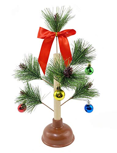 FunisFun Christmas Tree Plunger Funny Gag Gift Hilarious Toilet Humor White Elephant Gift Exchange