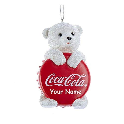 Personalized Coca Cola White Polar Bear Holiday Christmas Ornament with Custom Name