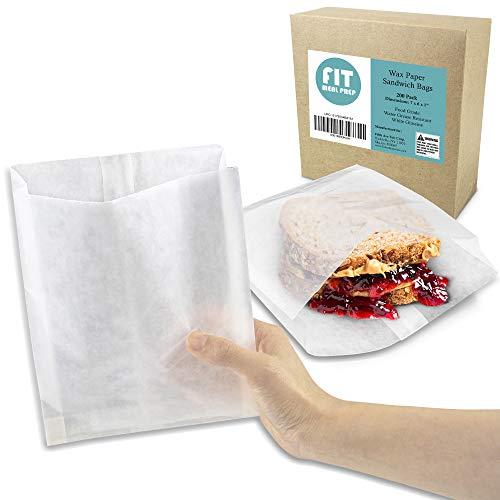 [200 Pack] Plain 7 x 6 x 1' Wet Wax Paper Sandwich Bags, Food Grade Grease Resistant, White Glassine Semi Translucent