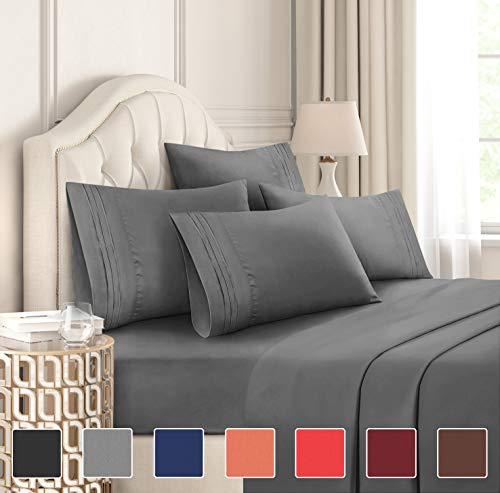 King Size Sheet Set  6 Piece Set  Hotel Luxury Bed Sheets  Extra Soft  Deep Pockets  Easy Fit  Breathable amp Cooling Sheets  Wrinkle Free  Comfy  Gray  Grey Bed Sheets  Kings Sheets  6 PC