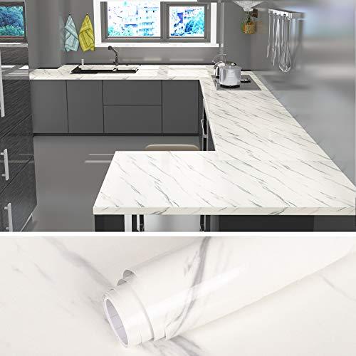 VEELIKE Papier de contact en marbre blanc Peel and Stick Papier de marbre pour table de cuisine Stickers muraux en granit auto-adhésifs pour armoires de cuisine Comptoir Back Splash 60cm × 900cm