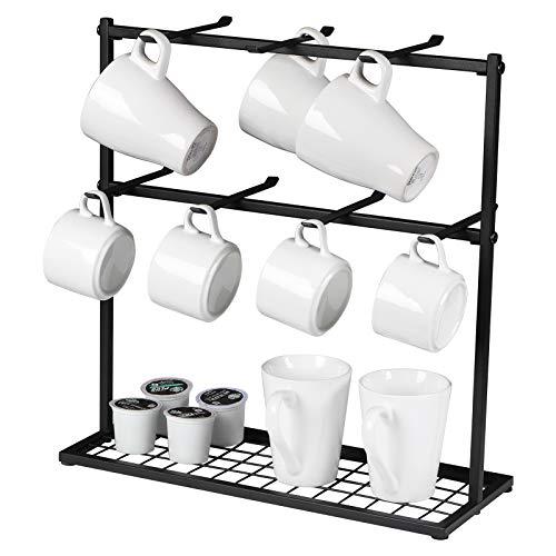OROPY Tassenhalter mit Aufbewahrungsboden, Metall kaffeetassenständer mit 14 Haken, Vintage Tassenregal für die Küche, Matt-schwarz