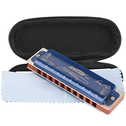 Professional Harmonica Blues Key of C 10 Hole 20 Tone Heavy Duty with Case & Cleaning Cloth for Professional Player, Beginner, Students, Children, Kids,by Eison-East Top,Blue,Best Gift