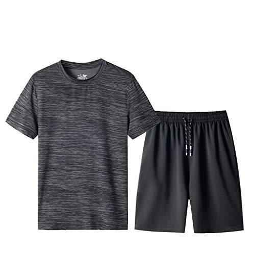 Ensemble Jogging Hommes ete Ensemble d'été Survêtement Homme Pas Cher Ensemble Pantalon Shorts+ T-Shirts Manches Courtes