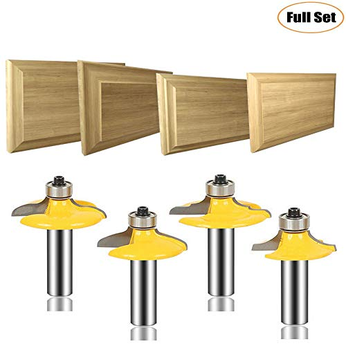 LEATBUY 3 PCS Router Bit Set 1/2-Inch Shank, Round Over Raised Panel Cabinet Door Ogee Rail and Stile Router Bits, Woodworking Wood Cutter, Wood Carbide Groove Tongue Milling Tool(B-10)