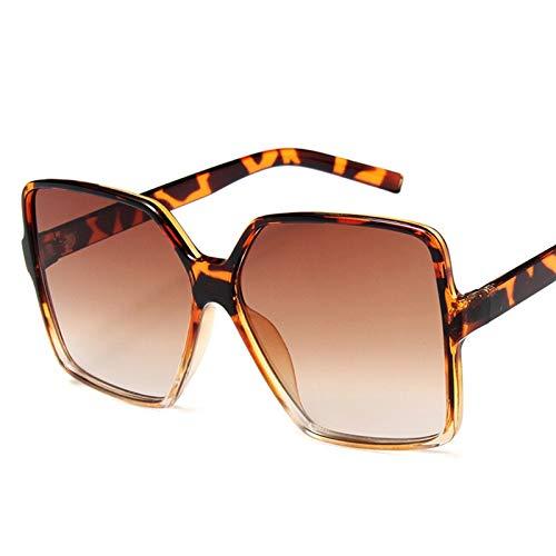PrittUHU Gafas de Sol de Gran tamaño Mujer Gafas de Sol de Lujo Mujeres 2021 Gafas de Sol de gradiente Vintage (Lenses Color : Leopard Tea)