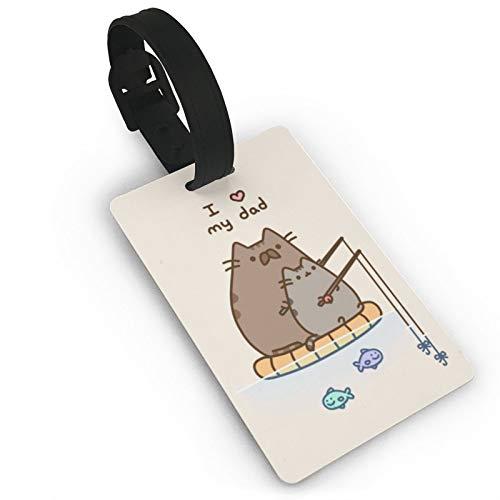 Etiqueta de equipaje Push-EEN para pesca de gatos, tarjetas de identificación de anime, etiquetas de viaje para maleta, maletero, privacidad, etiquetas de nombre de moda de 3.7 x 2.2 pulgadas