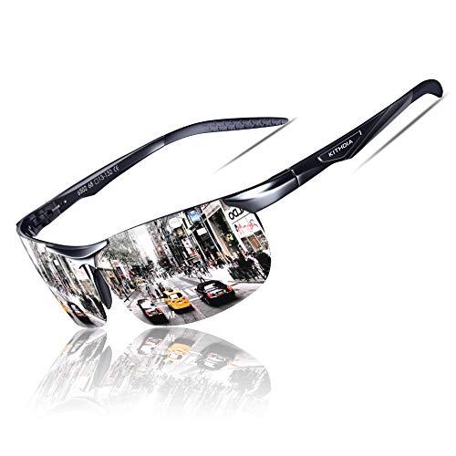 KITHDIA Sonnenbrille Herren Polarisierte Sportbrille Fahrerbrille Al-Mg Metall Rechteckig Rahme Cat3 CE S6502