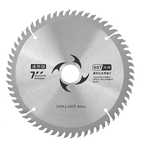 Hojas de sierra de 7 pulgadas Hoja de sierra circular de carburo Disco de corte redondo para cortar madera Herramientas de carpintería(60T)