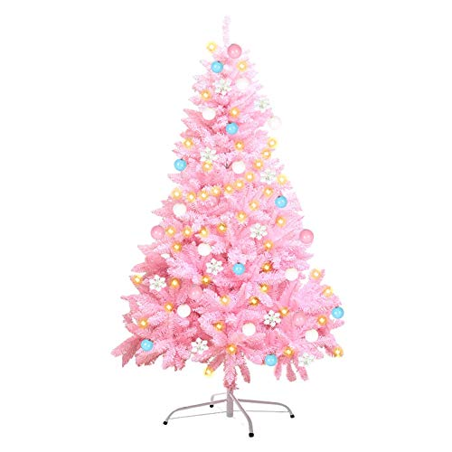 ZZZTWO Árboles de Navidad Artificiales, árboles de Navidad de Color Rosa, Decoraciones de Alta Navidad y Regalos (con Decoración) 180CM/5.9FT