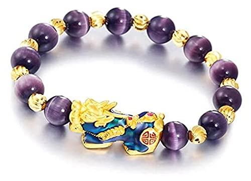 KWWLAC Pulsera de ágata Púrpura Genuina Fengshui con Cambio de Color Pixiu Vietnam Oro Mate Sólido Atraer Amor, Pulsera de Energía Física y Riqueza Feng Shui