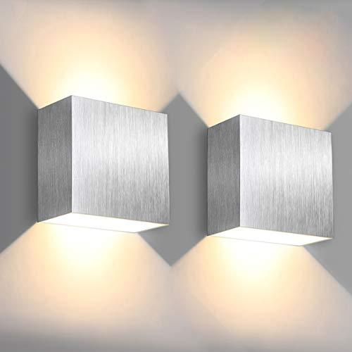 LED Wandleuchte, SOLMORE 6W Innenwandleuchte mit Up/Down-Effekt, 3000K Warmweiß 500LM Wandlampe, Aluminium für Innen Modern Design AC85-265V, 2 Stück