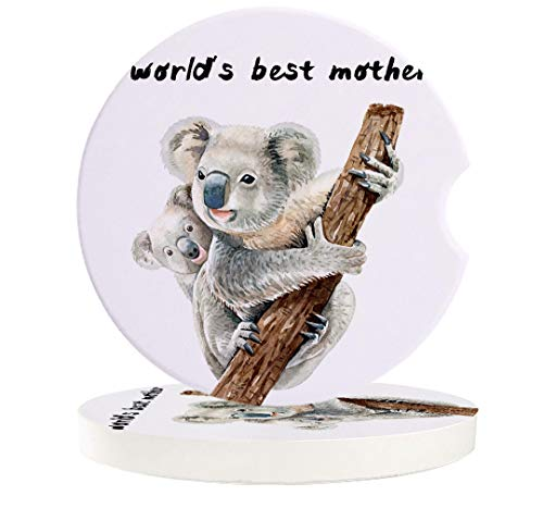 Car Absorbent Stone Coasters, World's Best Mother Cute Koala Mother and Child Coaster Set for Auto, Convenient Finger Slot Fit Most Car, As Gift for Men and Women 6-Piece Set