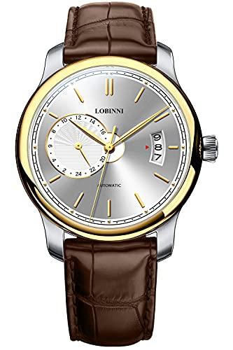 Lobinni Reloj de pulsera para hombre con correa de cuero minimalista resistente al agua y a la moda para hombre, Dorado-Blanco-Marrón,