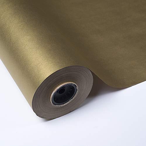 PAKOT Rollo Papel de Regalo Kraft Color Oro Elegante - Bobina Grande 70CM X 100M - para Embalaje
