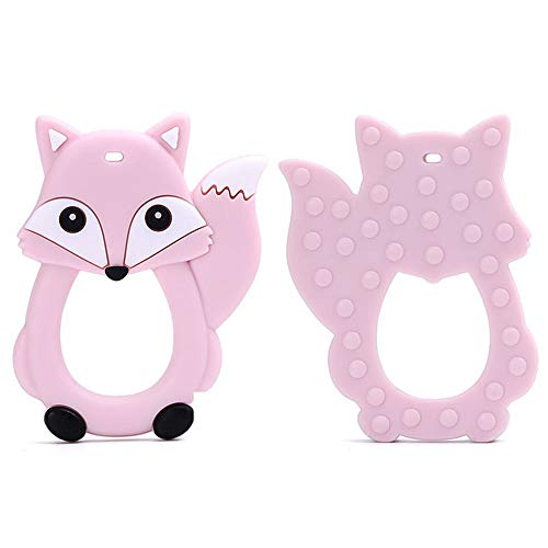 Fine Baby Teething Toys, Easy to Hold, Soft and Highly Effective Cartoon Foxes Teether - Best Unique Soother Teething Toy Pendant (Pink)
